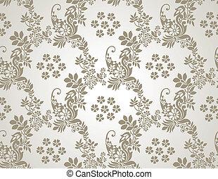floral, seamless, dourado, papel parede