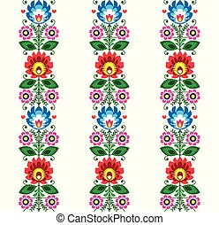 Floral seamless folk art vector pattern - Polish traditional design with flowers - Wycinanki Lowickie
