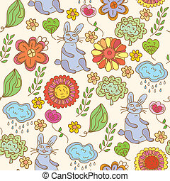 Floral seamless funny pattern with hare