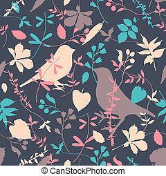 floral, seamless, met, vogels