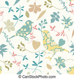 floral, seamless, oiseaux