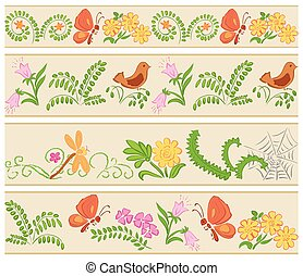 floral seamless ornaments - vector
