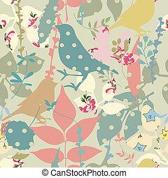floral, seamless, pássaros