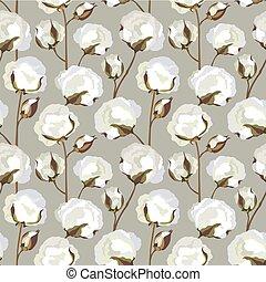 floral, seamless, padrão, com, flor, cotton., natureza, fundo