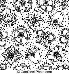 floral, seamless, padrão, com, mão, desenhado, flores