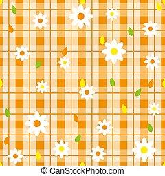 floral, seamless, padrão, com, xadrez, experiência., vetorial, template.