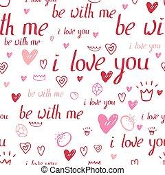 floral, seamless, padrão, feito, de, vermelho, corações, e, frase, amo