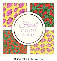 floral, seamless, padrão, jogo, para, têxtil, tecido, papel embrulho, vetorial, illustration., diferente, coloridos, caricatura, flores, tal, como, rosas, papoula, gerbera, ligado, luminoso, experiência.
