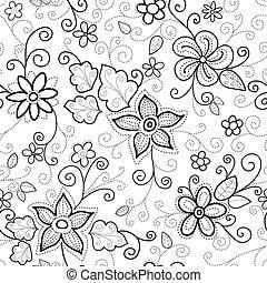 floral, seamless, padrão, tracejado