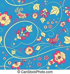 floral, seamless, patrón, con, aves, en, azul