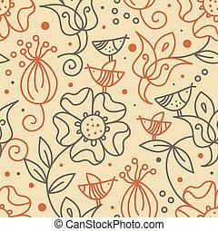 floral, seamless, patrón, con, aves