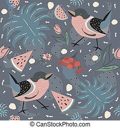 floral, seamless, patrón, con, aves, y, berries.