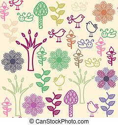 floral, seamless, patrón, con, aves, y, seamless, patrón, en, golpe fuerte