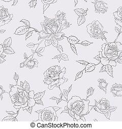 floral, seamless, patrón, con, rosas, en, sketched, contorno, style., flores, monocromo, mano, dibujado, plano de fondo, para, tela, impresión, papelde envolver, decor., vector, ilustración