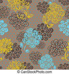 floral, seamless, patrón, en, estilo retro