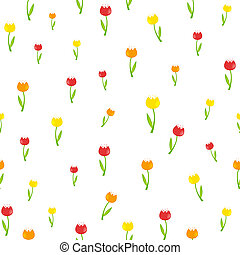 Floral Seamless Pattern Background with Tulips Illustrati