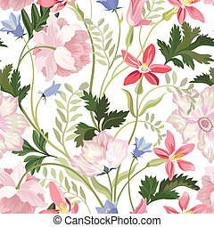 Floral seamless pattern. Beautiful spring summer background with tropical garden flowers, palm leaves. Gentle flower tile wallpaper for bedclothes design in hawaiian nature style.