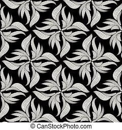 Floral seamless pattern. Black and white background.