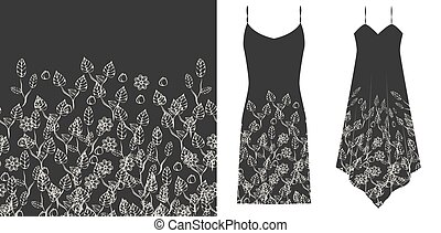 Floral seamless pattern. Black and white. Underwear concept. Horizontally seamless