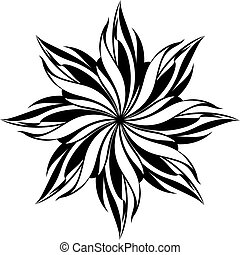 Floral seamless pattern. Black design isolated on white