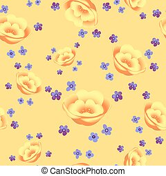 Floral seamless pattern blooming yellow flowers Botanical Motifs scattered random. Seamless vector texture. Elegant template for fashion prints. Printing with in hand drawn style on pastel background.