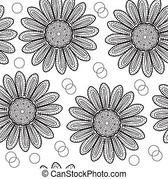 Floral seamless pattern chrysanthemum, in the style of hand drawing. Black and white flowers. Vector illustration
