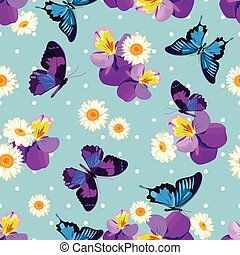 Floral seamless pattern Floral seamless pattern. Pansies with chamomiles on blue polka dot background. Vector illustration