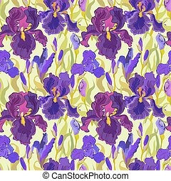 Floral seamless pattern. Flower iris background.