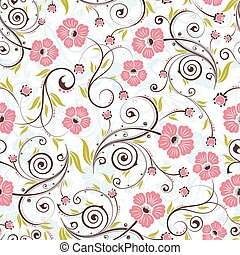Floral seamless pattern - Flower seamless pattern with bud,...