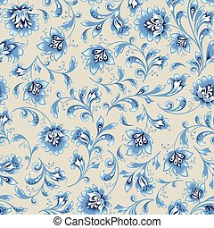 Floral seamless pattern. Flower silhouette ornament. Ornamental flourish background, russian native style