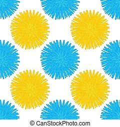 Floral seamless pattern. Hand drawn blue and yellow head of flowers. Colorful artistic background with blossom