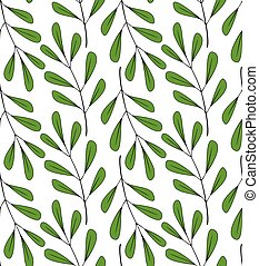 Floral Seamless Pattern. Hand-drawn Plant Pattern. Branches With Green Leaves. Vector Pattern On A White Background.