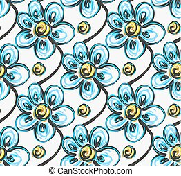 Floral seamless pattern. Hand drawn creative flowers. Colorful artistic background with blossom. Abstract herb