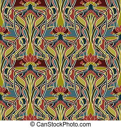 Floral seamless pattern in art nouveau style, vector ...