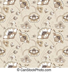 Floral seamless pattern in beige color