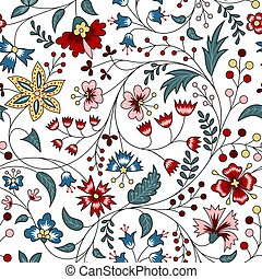chintz - Floral seamless pattern in chintz style on white ...