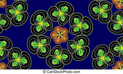 Floral seamless pattern in dark blue color