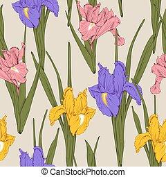 Floral seamless pattern - iris