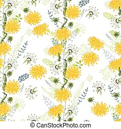 Floral seamless pattern made of yellow dandelions