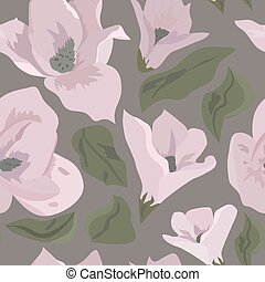 Floral seamless pattern magnolia on