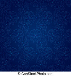 Floral seamless pattern on blue