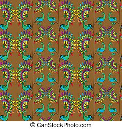 Floral seamless pattern on golden background