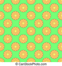 Floral seamless pattern on the green background