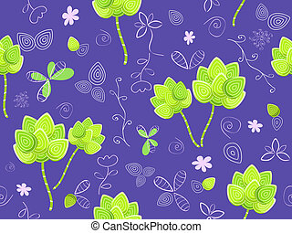 floral seamless pattern on violet background