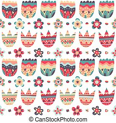 Floral seamless pattern on white