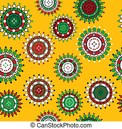 Floral seamless pattern over yellow background
