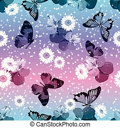 Floral seamless pattern. Pansies with chamomiles, buttrflies on sparkle pink and blue background. Vector illustration