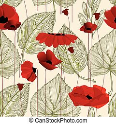 Floral seamless pattern, poppy
