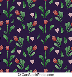 Floral seamless pattern. Red flowers, buds, Tulips and leaves on a black background. Watercolor. Hand drawing For design, packaging, decor, wallpaper, print and textile