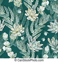 Floral seamless pattern. Succulents, ferns, thorns. -...